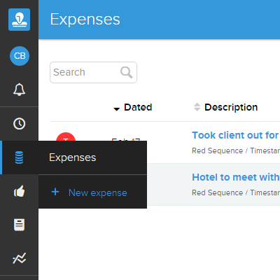 Expenses Menu